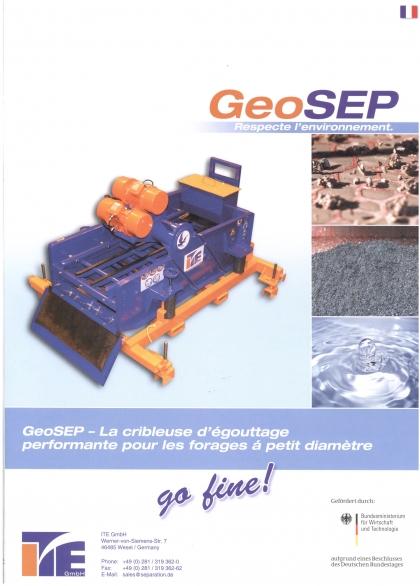 GeoSEP - cribleuse d'égouttage performante pour les forages à petit diamètre.